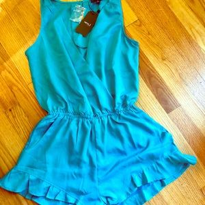 Verv J. Teal Romper with Ruffles